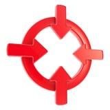 Divisa del símbolo de la atención de la flecha aislada Fotografía de archivo