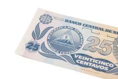 Divisa nacional de Nicaragua billete de banco de Córdoba de 25 centavos Imágenes de archivo libres de regalías
