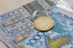 Divisa nacional del tenge del dinero de Kazajistán Imagen de archivo libre de regalías
