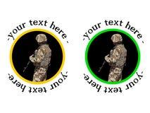 Divisa o etiqueta engomada del soldado de los E.E.U.U. Fotografía de archivo