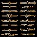 Diviseurs d'art déco Lignes de conception de deco d'or, frontières d'or d'en-tête de livre éléments victorian de cru des années 1 illustration stock