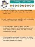 División de las matemáticas que cuenta las bolas de mármol Foto de archivo libre de regalías