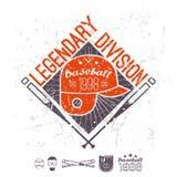 División legendaria del béisbol del emblema de universidad Imagenes de archivo