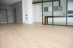 División moderna de la sala de estar con la pared de cristal Suelo de madera de roble con la pared de vidrio interior moderna del imagen de archivo libre de regalías