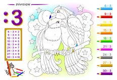 Free Division By Number 2. Math Exercises For Kids. Paint The Picture. Educational Page For Mathematics Book. Stock Photo - 158236840