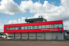 Division de délivrance du feu dans l'aéroport international de Vilnius Image stock