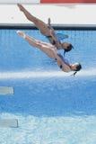 Division : Finale de Sychronised des femmes du championnat 3m du monde Photographie stock libre de droits