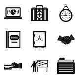 Division icons set, simple style. Division icons set. Simple set of 9 division vector icons for web isolated on white background Royalty Free Stock Images