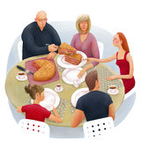 Division of inheritance metaphor. The illustration of division of inheritance metaphor. Family is sitting at the round dinner table and dividing the cake Royalty Free Stock Images