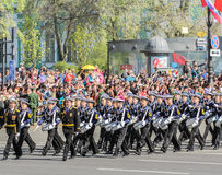 Division military drummers Sea Cadet Corps on the march. Stock Image