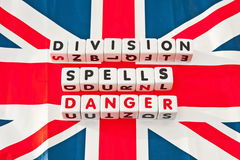 Division spells danger. Scottish attempts to gain independence spell danger for Great Britain by fragmenting a small but important island, text ' division spells Stock Photo