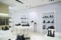 Division of store with foot-wear and belts Stock Image