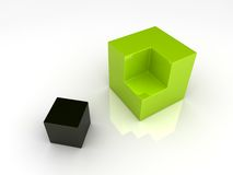 Division of two cubes Royalty Free Stock Image
