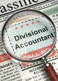 Divisional Accountant Job Vacancy. 3D. Divisional Accountant - Close Up View Of A Classifieds Through Magnifying Lens. Divisional Accountant - Close View of Royalty Free Stock Photos
