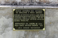 Divisional monument obelisk board. PORTO VELHO, BRAZIL - JUNE 16, 2017: Monument obelisk plaque, divisional boundary of the states of Amazonas and Mato Grosso Royalty Free Stock Photos