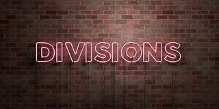 DIVISIONS - fluorescent Neon tube Sign on brickwork - Front view - 3D rendered royalty free stock picture. Can be used for online banner ads and direct mailers Stock Image