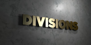 Divisions - Gold text on black background - 3D rendered royalty free stock picture. This image can be used for an online website banner ad or a print postcard Royalty Free Stock Photography
