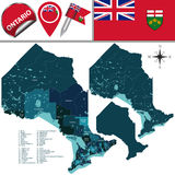 Divisions of Ontario, Canada. Vector map of divisions of Ontario, Canada Stock Image