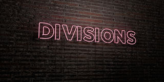 DIVISIONS -Realistic Neon Sign on Brick Wall background - 3D rendered royalty free stock image. Can be used for online banner ads and direct mailers Stock Images