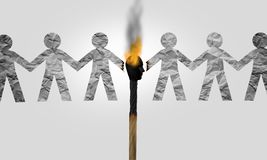 Divisive Politics. And a symbol for a divider politician and splitting social opinion or dividing to inflame society with political rhetoric to fan the flames vector illustration