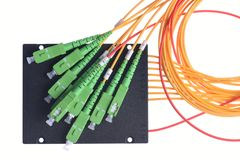 Divisor da fibra ótica com conectores do SC foto de stock