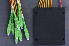 Divisor de la fibra óptica con los conectores del SC Imágenes de archivo libres de regalías