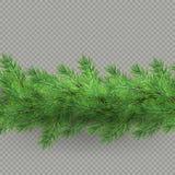 Divisor del efecto de mirada realista de las ramas de árbol de los hristmas con la sombra aislada sobre fondo transparente EPS 10 ilustración del vector