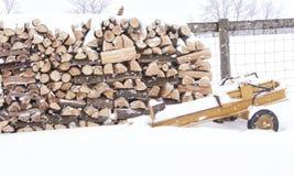 Divisor do log ao lado de uma pilha de madeira Fotos de Stock Royalty Free
