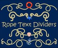Divisor do texto da corda com elemento náutico Face das mulheres Hand-drawn de illustration Foto de Stock
