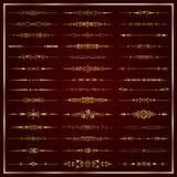 Divisores caligráficos decorativos de oro para la decoración del diseño y de la página - sistema del vector Imagenes de archivo