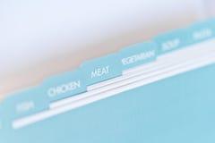 Divisores de la tarjeta de la receta, carne Imagen de archivo libre de regalías