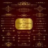Divisores de oro y cascos adornados - sistema de la página del vector Foto de archivo