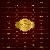 Divisores de oro y elementos ornamentales - sistema de la página del vector Imagen de archivo