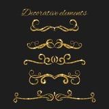 Divisores del texto del oro fijados Elementos decorativos ornamentales Imagenes de archivo
