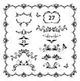 Divisores del vintage, regla de la página y sistema florales del vector de los jefes Diseño retro blanco y negro fotos de archivo