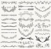 Divisores dibujados de la mano negra del vector, ramas, remolinos Imagen de archivo