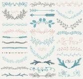 Divisores dibujados mano del color del vector, ramas, remolinos Imagenes de archivo