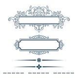 Divisores do vintage dos elementos do design floral no preto Fotografia de Stock Royalty Free