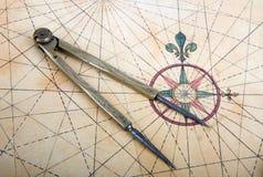 Divisores em um mapa Fotos de Stock Royalty Free