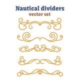 Divisores fijados Cuerdas náuticas Nudos decorativos del vector Elementos ornamentales de la decoración con la cuerda Imagen de archivo libre de regalías
