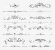 Divisores florais pretos do vetor com flores e redemoinhos ilustração royalty free