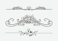 Divisores florais pretos do vetor com flores e redemoinhos ilustração do vetor
