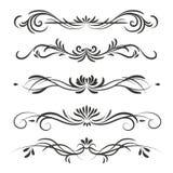 Divisores ou beiras decorativas do vetor no estilo do vintage isolados no fundo branco ilustração royalty free