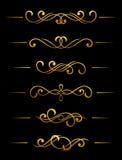 Divisores y fronteras de oro de la vendimia Foto de archivo libre de regalías