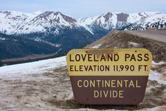 Divisoria continental del paso de Loveland en Colorado Rocky Mountains Foto de archivo libre de regalías