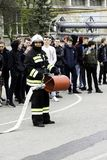 04 24 2019. Divnoye, Stavropol Territory, Russia. Demonstrations of rescuers and firefighters of a local fire department in the stock photography