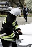 04 24 2019. Divnoye, Stavropol Territory, Russia. Demonstrations of rescuers and firefighters of a local fire department in the stock images