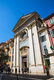 Divo Francisco A Paula Charitas church facade, Nice, France stock photo