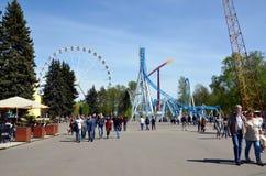 Divo Ostrov Wonder Island attraction park. ST-PETERSBURG, RUSSIA - MAY 28, 2017 -  Divo Ostrov Wonder Island attraction park in St-Petersburg. Roller coaster Royalty Free Stock Photo