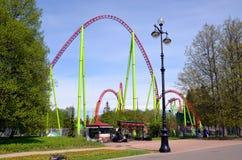 Divo Ostrov Wonder Island attraction park. ST-PETERSBURG, RUSSIA - MAY 28, 2017 - Divo Ostrov Wonder Island attraction park in St-Petersburg. Roller coaster on Royalty Free Stock Photo